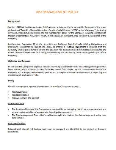 risk management policy in pdf
