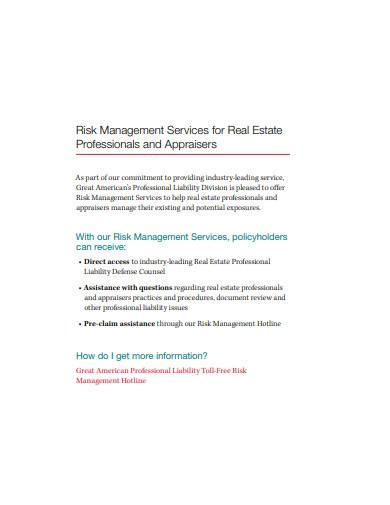 risk management services for real estate