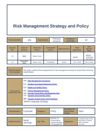 risk management strategy and policy