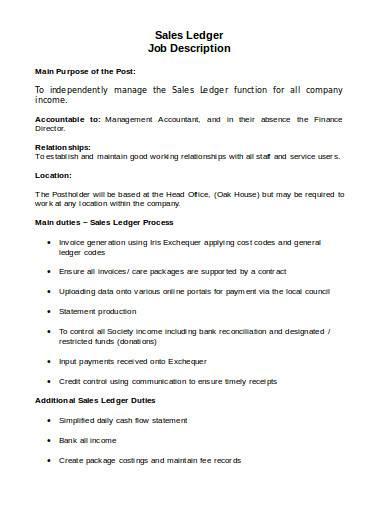 sales ledger job description