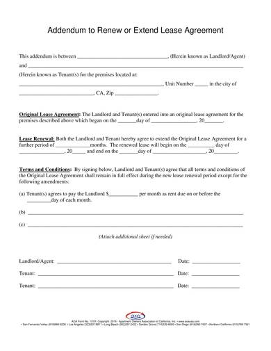 sample addendum to renew or extend lease agreement