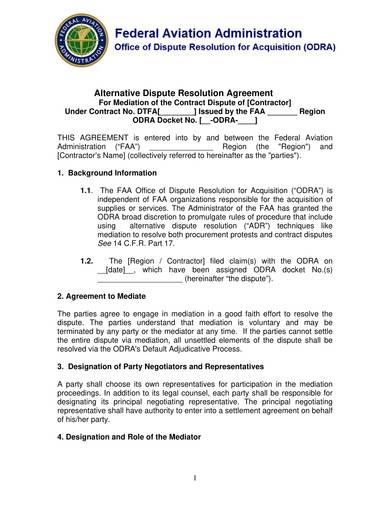 sample alternative dispute resolution agreement