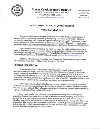 sample annual drinking water quality report