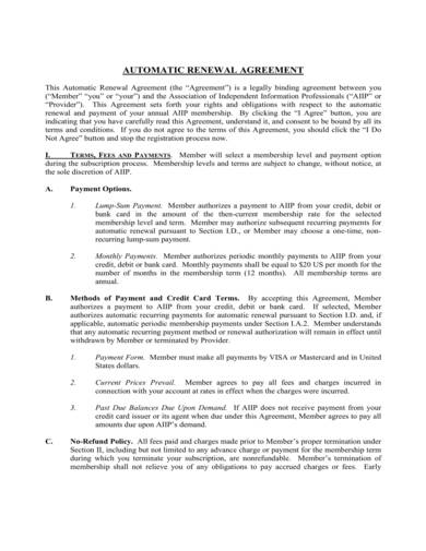 sample automatic renewal agreement