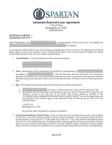 sample automatic renewal lease agreement