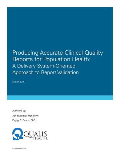 sample clinical quality reports for population health