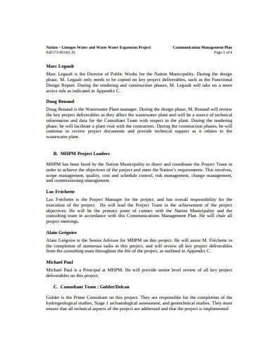 sample communication management plan template