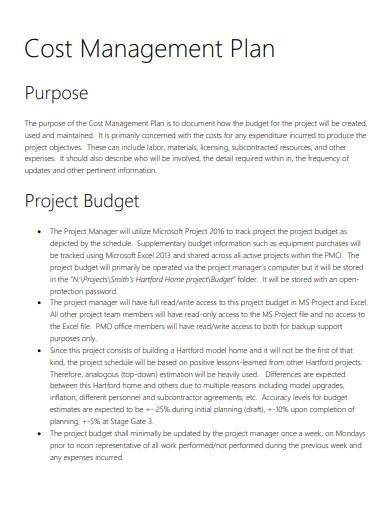sample cost management plan in pdf