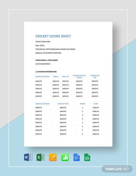 sample cricket score sheet template