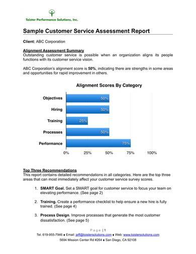 sample customer service assessment report