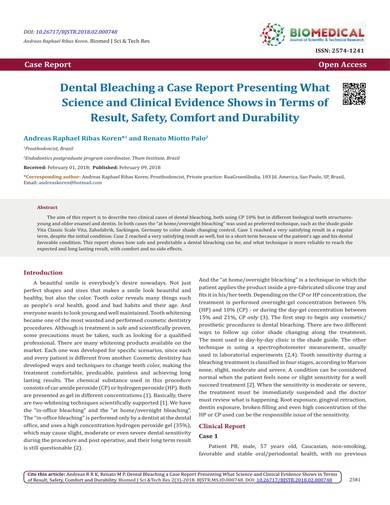sample dental bleaching case report