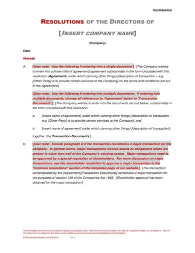 sample directors resolution agreement
