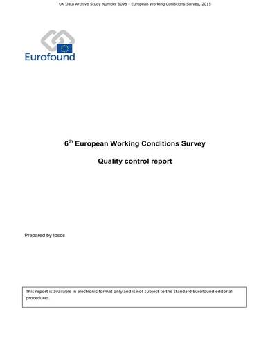 sample european working conditions survey quality control report