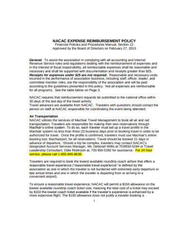 sample expense reimbursement policy example