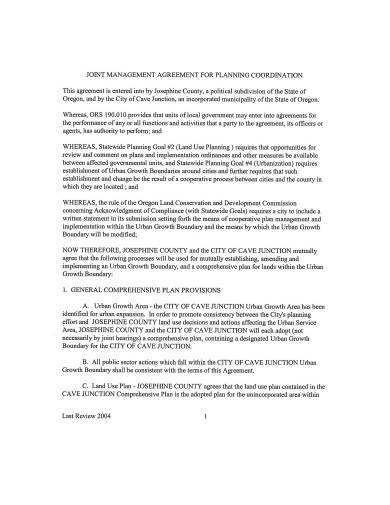 sample joint management agreement