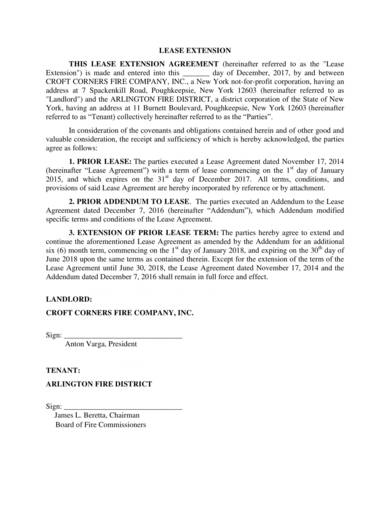 sample lease extension renewal agreement