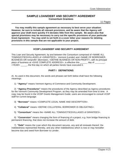 sample loan debt agreement