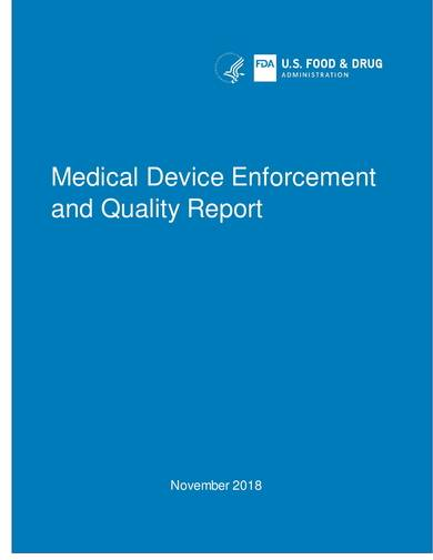 sample medical device enforcement and quality report