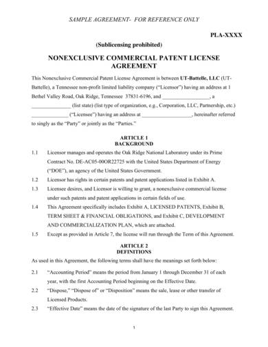 sample nonexclusive commercial patent license agreement
