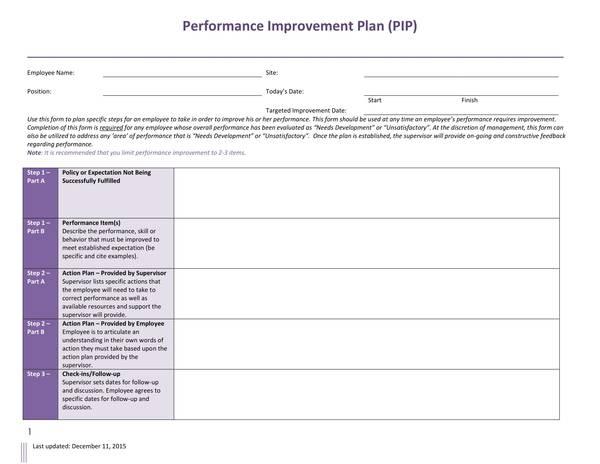 sample performance improvement plan