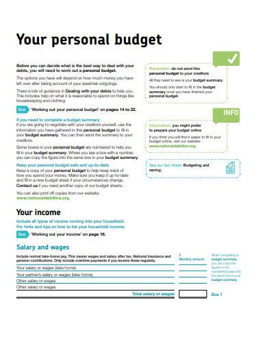 sample personal budget template