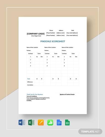 sample pinochle score sheet template