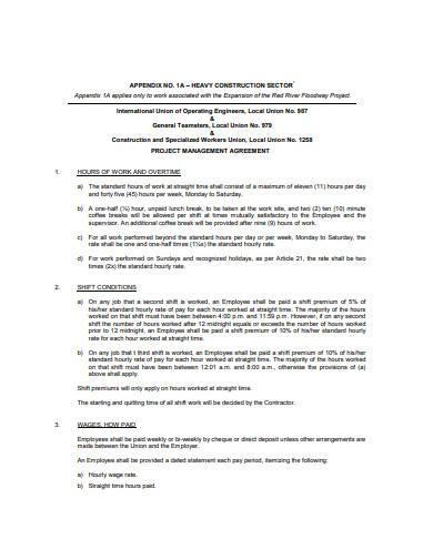 sample project management agreement template
