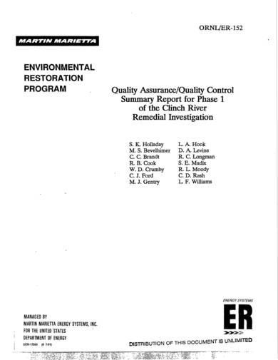 sample quality assurance quality control summary report