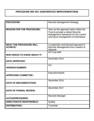 sample records management strategy template