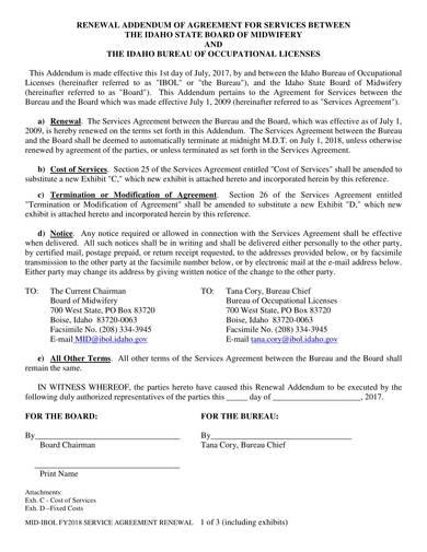 sample renewal addendum of agreement for services
