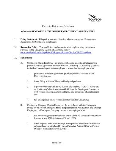 sample renewal agreement for contingent employment