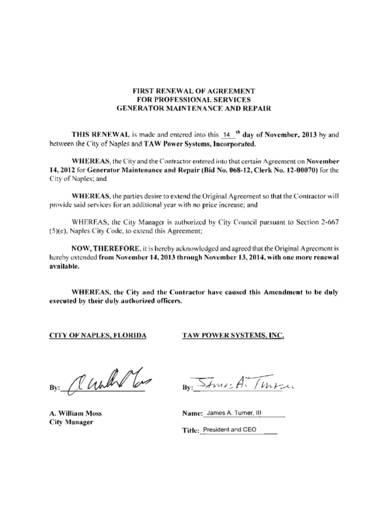 sample renewal agreement for professioanl services generator maintenance and repair