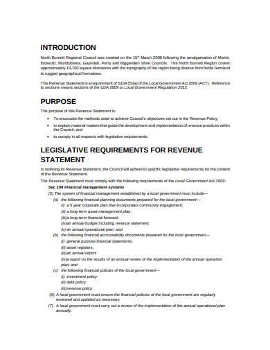 sample revenue statement template