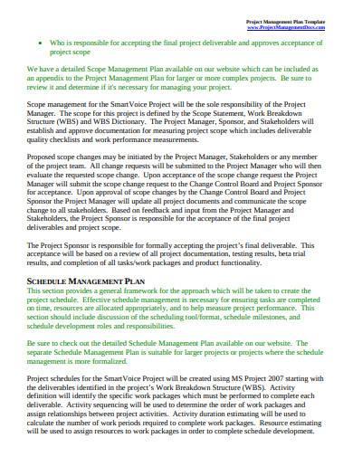 sample scope management plan template