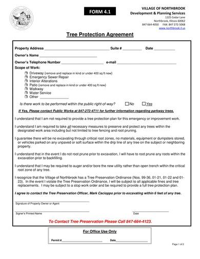 sample tree protection agreement