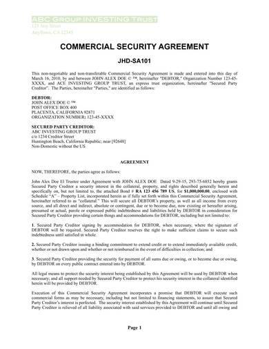 sample of commercial security agreement