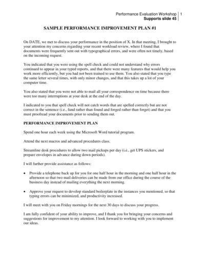 sample of a basic performance improvement plan
