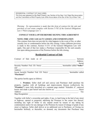 sample of a basic residential contract of sale