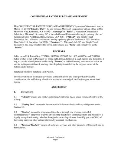 sample of a confidential patent purchase agreement