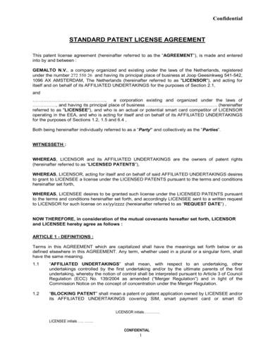 sample of a standard patent license agreement