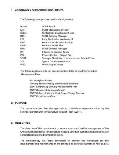 schedule management plan sample
