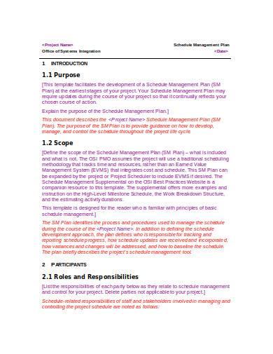schedule management plan in doc