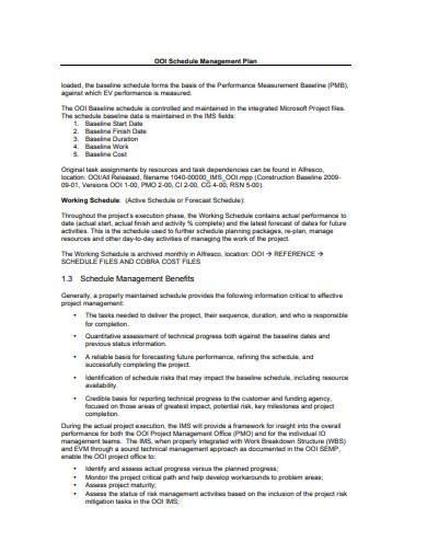 schedule management plan in pdf