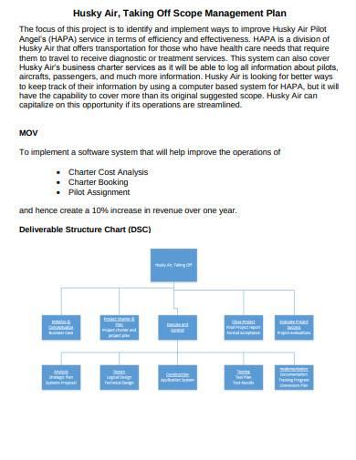 scope management plan sample