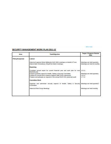 security management work plan template