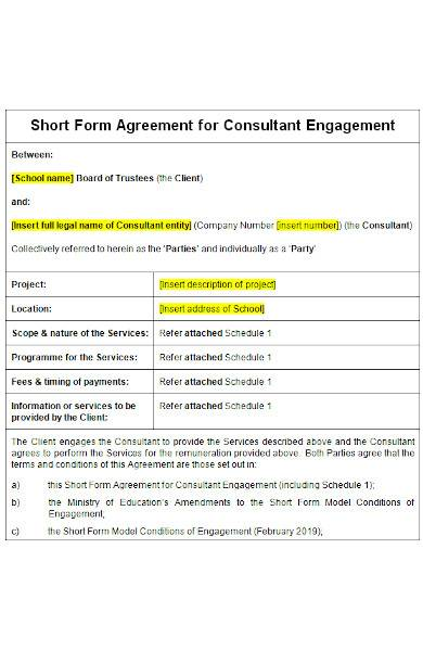 short form agreement in ms word