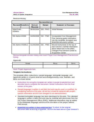 simple cost management plan template