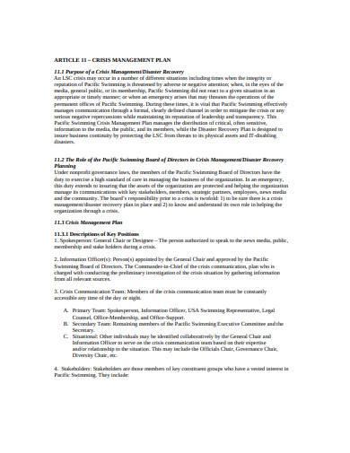 simple crisis management plan template