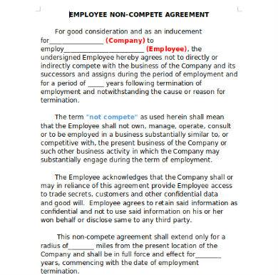 simple employee non compete agreement sample