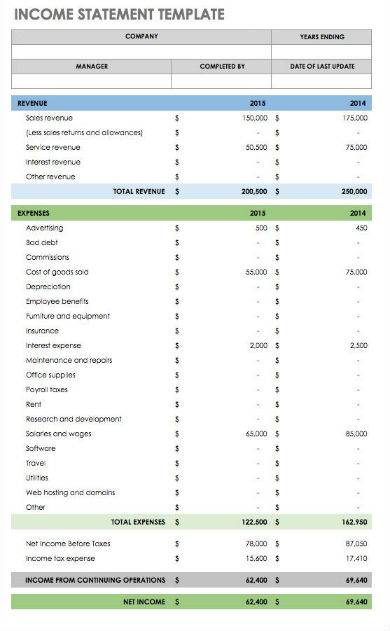 simple income statement sample